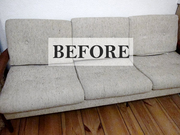 upholstering my couch - befor and after pictures